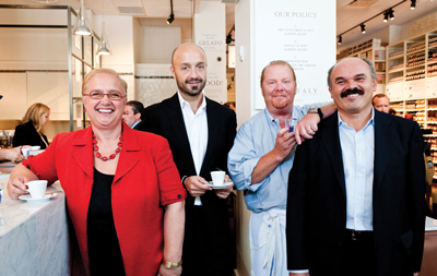Lidia, her son Joe Bastianich, Mario Batali, and Oscar Farinetti are co-owners of Eataly, the artisanal Italian marketplace with locations in New York, Chicago, and elsewhere.