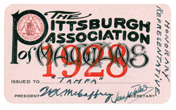 Ray Sugden's Pittsburgh Society of Magicians membership card