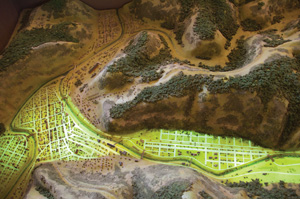 Johnstown Flood Museum  display model depicts the path of the 1889 flood.