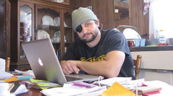 Carmen Gentile working on the first draft of his book, January 2014.