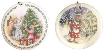 Royal Doulton Bunnykins porcelain Christmas ornaments.
