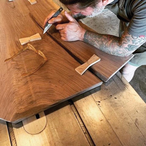 Jonathan Moran working on a joint inlay.