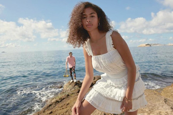 Women's gauzy white dress for summer from Scotch & Soda, available at Moda.